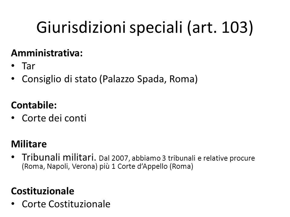 Giurisdizioni speciali (art. 103) Amministrativa: Tar Consiglio di stato (Palazzo Spada, Roma) Contabile: Corte dei conti Militare Tribunali militari.