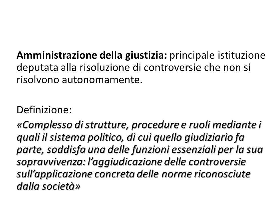 Amministrazione della giustizia: principale istituzione deputata alla risoluzione di controversie che non si risolvono autonomamente. Definizione: «Co