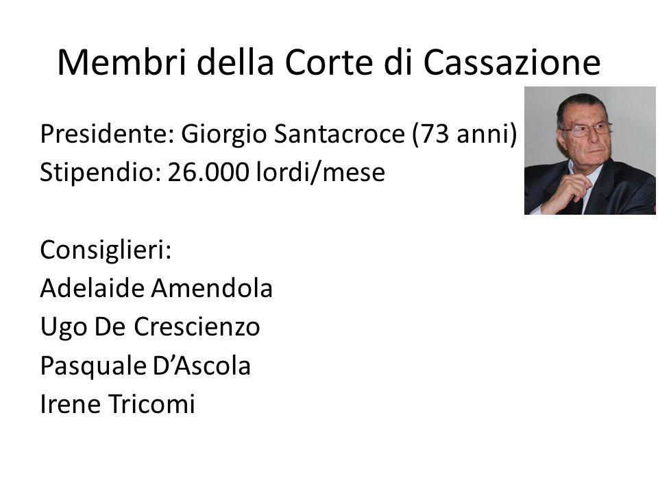 Membri della Corte di Cassazione Presidente: Giorgio Santacroce (73 anni) Stipendio: 26.000 lordi/mese Consiglieri: Adelaide Amendola Ugo De Crescienz