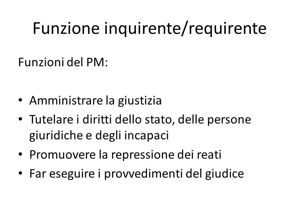 Funzione inquirente/requirente Funzioni del PM: Amministrare la giustizia Tutelare i diritti dello stato, delle persone giuridiche e degli incapaci Pr