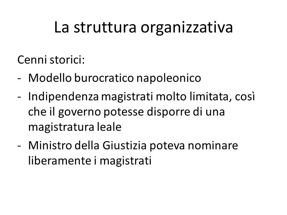 La struttura organizzativa Cenni storici: -Modello burocratico napoleonico -Indipendenza magistrati molto limitata, così che il governo potesse dispor