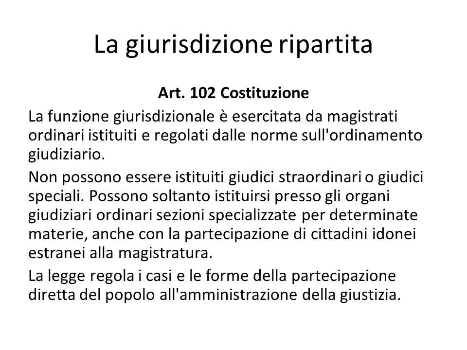 La giurisdizione ripartita Art. 102 Costituzione La funzione giurisdizionale è esercitata da magistrati ordinari istituiti e regolati dalle norme sull