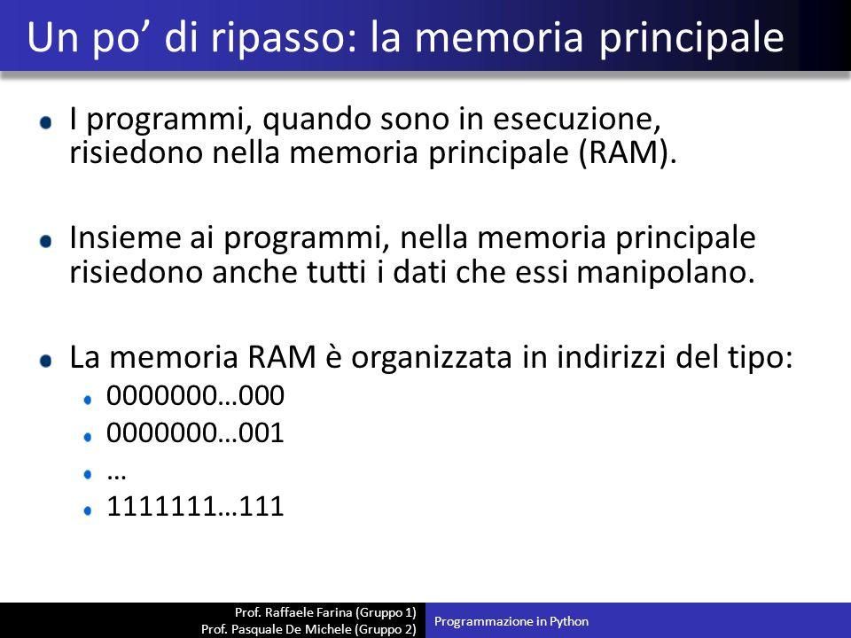 Prof. Raffaele Farina (Gruppo 1) Prof. Pasquale De Michele (Gruppo 2) I programmi, quando sono in esecuzione, risiedono nella memoria principale (RAM)