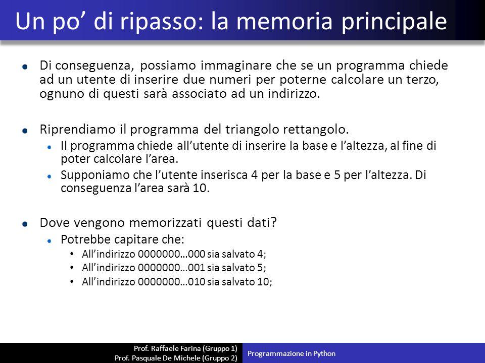 Prof. Raffaele Farina (Gruppo 1) Prof. Pasquale De Michele (Gruppo 2) Di conseguenza, possiamo immaginare che se un programma chiede ad un utente di i
