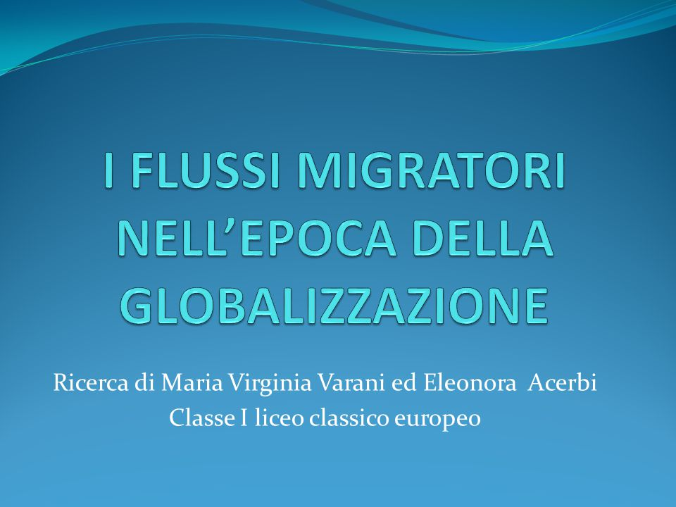 Ricerca di Maria Virginia Varani ed Eleonora Acerbi Classe I liceo classico europeo