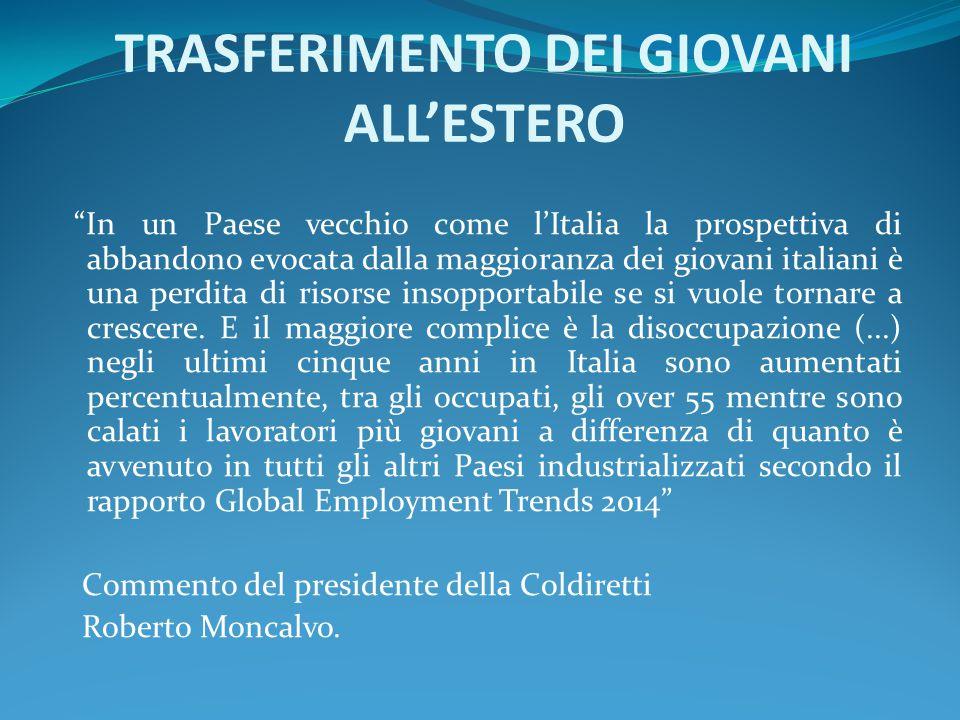 """TRASFERIMENTO DEI GIOVANI ALL'ESTERO """"In un Paese vecchio come l'Italia la prospettiva di abbandono evocata dalla maggioranza dei giovani italiani è u"""