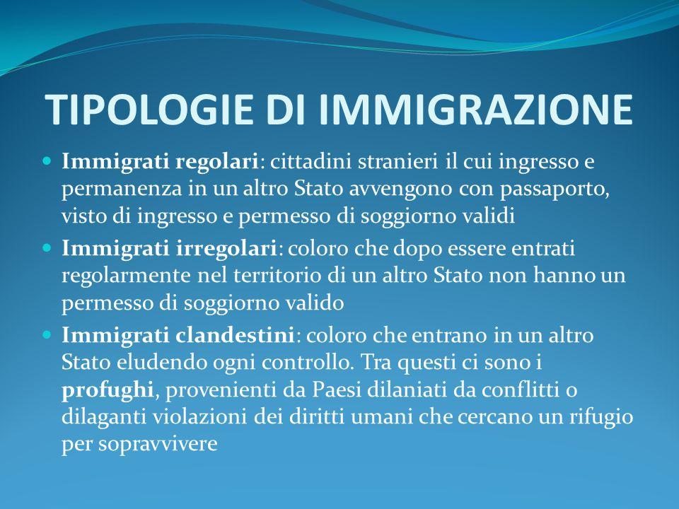 TIPOLOGIE DI IMMIGRAZIONE Immigrati regolari: cittadini stranieri il cui ingresso e permanenza in un altro Stato avvengono con passaporto, visto di in