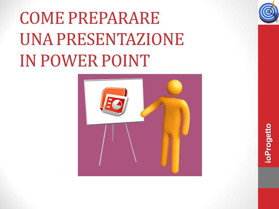 Un punto per ogni diapositiva Scegliere una o più diapositive per ogni punto da trattare ioProgetto
