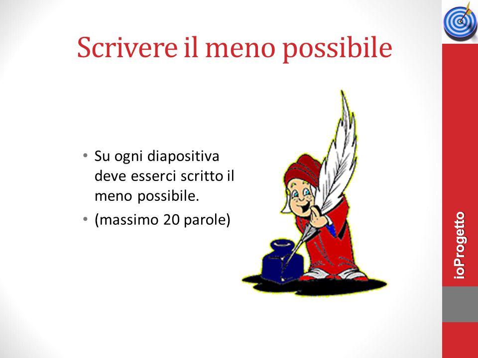 Scrivere il meno possibile Su ogni diapositiva deve esserci scritto il meno possibile. (massimo 20 parole) ioProgetto