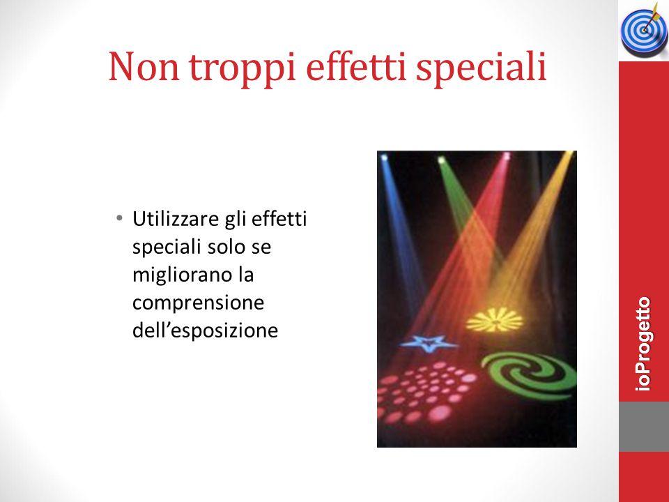 Non troppi effetti speciali Utilizzare gli effetti speciali solo se migliorano la comprensione dell'esposizione ioProgetto