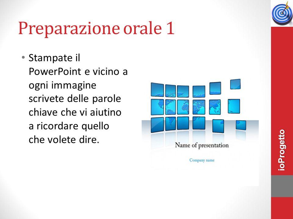 Preparazione orale 1 Stampate il PowerPoint e vicino a ogni immagine scrivete delle parole chiave che vi aiutino a ricordare quello che volete dire. i