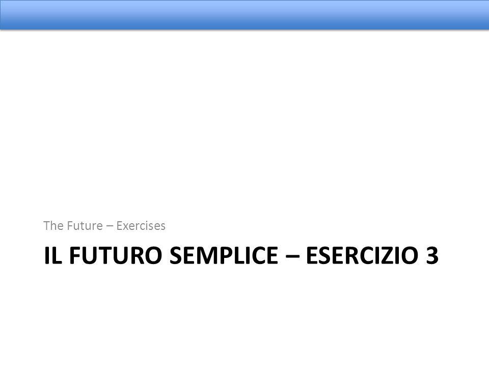 IL FUTURO SEMPLICE – ESERCIZIO 3 The Future – Exercises
