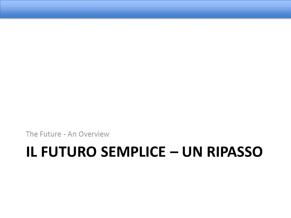 Usando il Futuro Complete using the appropriate form of the Future tense of the verb provided.
