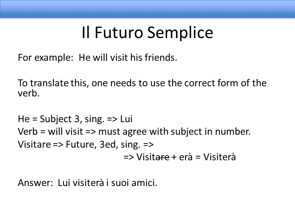 Il Futuro Semplice For example: We will sell our home next year.