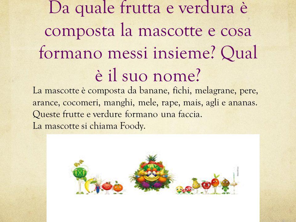 Da quale frutta e verdura è composta la mascotte e cosa formano messi insieme? Qual è il suo nome? La mascotte è composta da banane, fichi, melagrane,