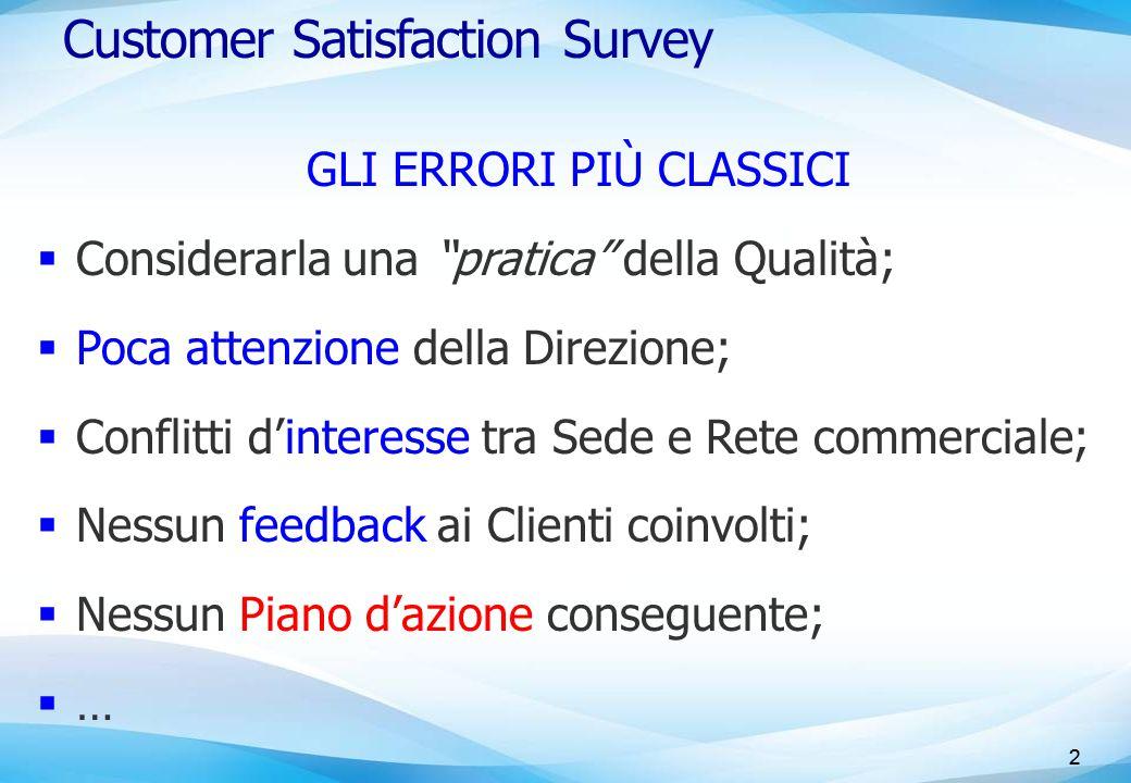 """2 Customer Satisfaction Survey GLI ERRORI PIÙ CLASSICI  Considerarla una """"pratica"""" della Qualità;  Poca attenzione della Direzione;  Conflitti d'in"""