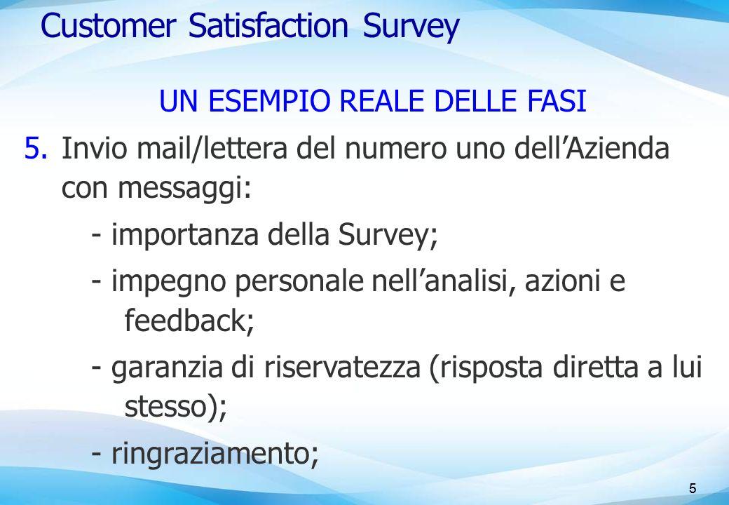 5 Customer Satisfaction Survey UN ESEMPIO REALE DELLE FASI 5.Invio mail/lettera del numero uno dell'Azienda con messaggi: - importanza della Survey; -