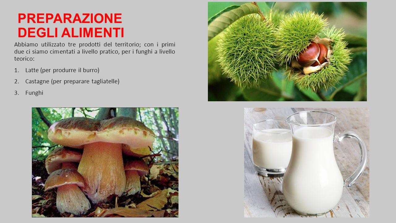 PREPARAZIONE DEGLI ALIMENTI Abbiamo utilizzato tre prodotti del territorio; con i primi due ci siamo cimentati a livello pratico, per i funghi a livel