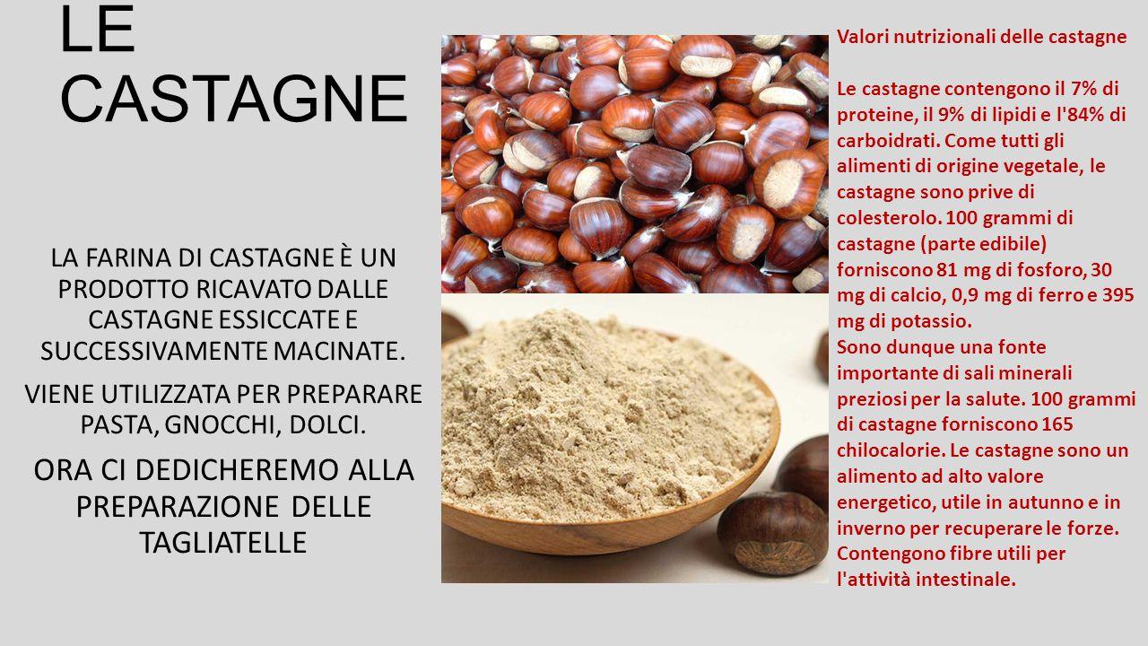 LA PREPARAZIONE DELL'IMPASTO CON LA FARINA DI CASTAGNE 30% FARINA DI CASTAGNE 70% FARINA DI SEMOLA DI GRANO DURO ACQUA Q.B.