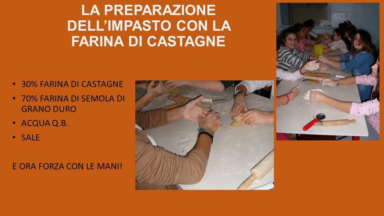 LA PREPARAZIONE DELL'IMPASTO CON LA FARINA DI CASTAGNE 30% FARINA DI CASTAGNE 70% FARINA DI SEMOLA DI GRANO DURO ACQUA Q.B. SALE E ORA FORZA CON LE MA