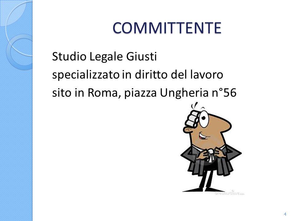 COMMITTENTE Studio Legale Giusti specializzato in diritto del lavoro sito in Roma, piazza Ungheria n°56 4