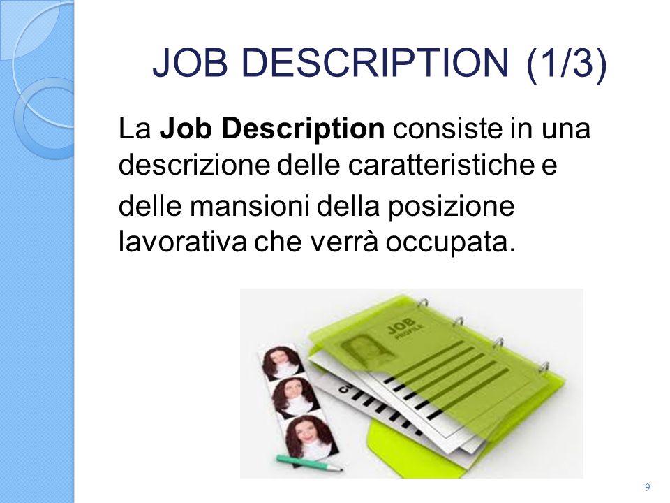 JOB DESCRIPTION (1/3) La Job Description consiste in una descrizione delle caratteristiche e delle mansioni della posizione lavorativa che verrà occupata.