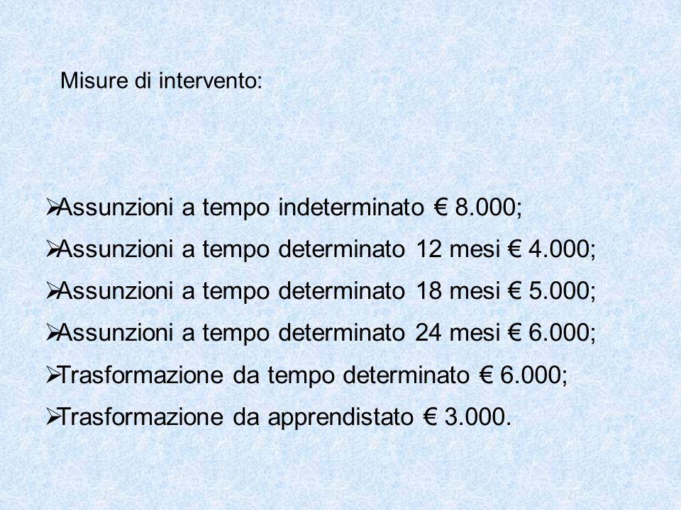 Misure di intervento:  Assunzioni a tempo indeterminato € 8.000;  Assunzioni a tempo determinato 12 mesi € 4.000;  Assunzioni a tempo determinato 18 mesi € 5.000;  Assunzioni a tempo determinato 24 mesi € 6.000;  Trasformazione da tempo determinato € 6.000;  Trasformazione da apprendistato € 3.000.