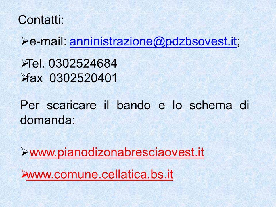 Contatti:  e-mail: anninistrazione@pdzbsovest.it;anninistrazione@pdzbsovest.it  Tel.