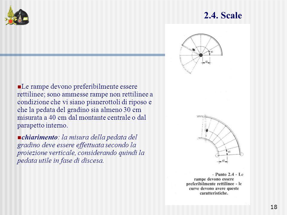 18 Le rampe devono preferibilmente essere rettilinee; sono ammesse rampe non rettilinee a condizione che vi siano pianerottoli di riposo e che la peda