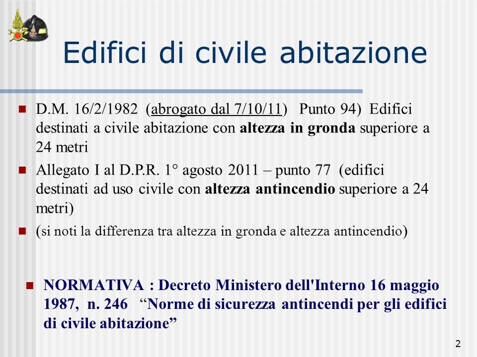 """2 NORMATIVA : Decreto Ministero dell'Interno 16 maggio 1987, n. 246 """"Norme di sicurezza antincendi per gli edifici di civile abitazione"""" Edifici di ci"""