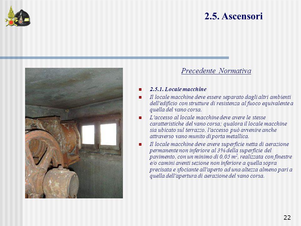 22 Precedente Normativa 2.5.1. Locale macchine Il locale macchine deve essere separato dagli altri ambienti dell'edificio con strutture di resistenza
