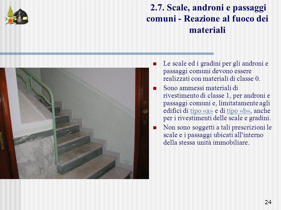 24 Le scale ed i gradini per gli androni e passaggi comuni devono essere realizzati con materiali di classe 0. Sono ammessi materiali di rivestimento