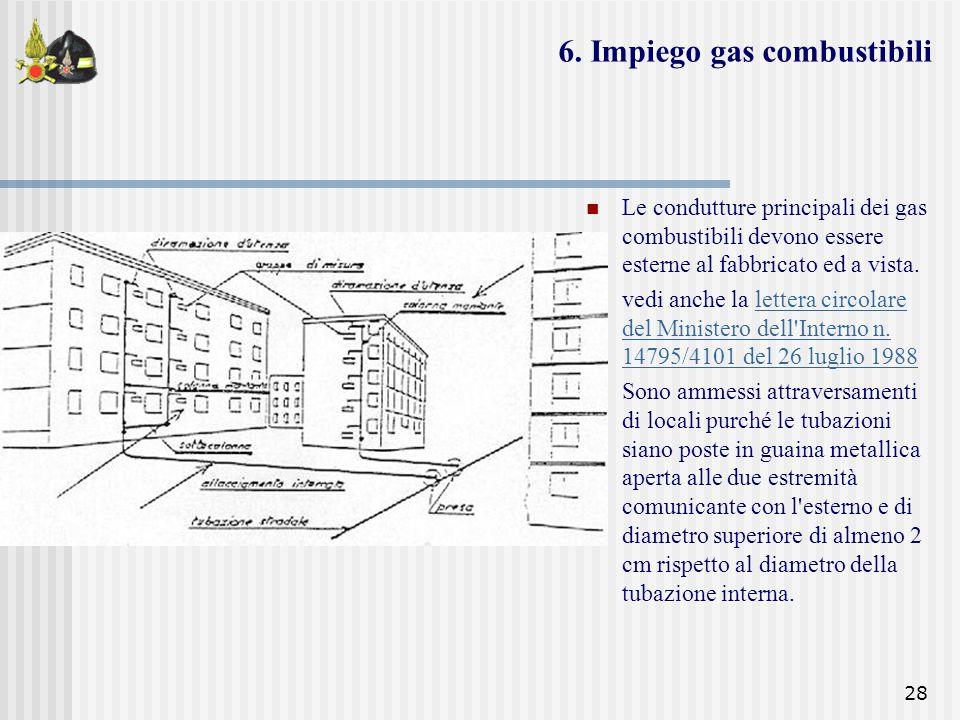 28 Le condutture principali dei gas combustibili devono essere esterne al fabbricato ed a vista. vedi anche la lettera circolare del Ministero dell'In