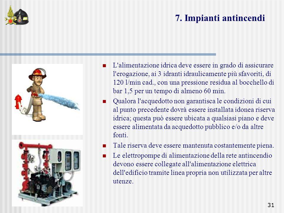 31 L'alimentazione idrica deve essere in grado di assicurare l'erogazione, ai 3 idranti idraulicamente più sfavoriti, di 120 l/min cad., con una press
