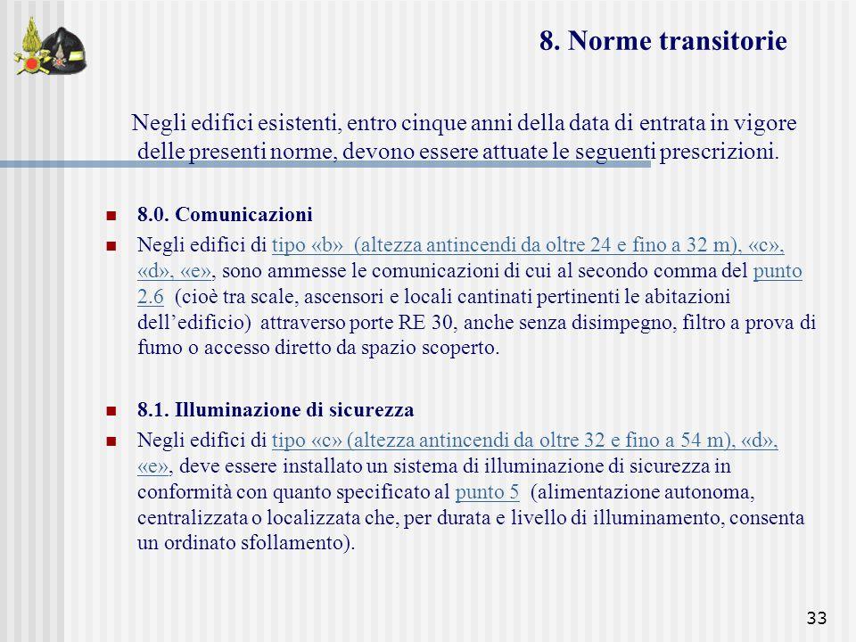 33 8. Norme transitorie Negli edifici esistenti, entro cinque anni della data di entrata in vigore delle presenti norme, devono essere attuate le segu