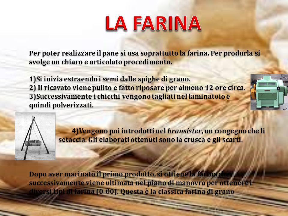 Per poter realizzare il pane si usa soprattutto la farina. Per produrla si svolge un chiaro e articolato procedimento. 1)Si inizia estraendo i semi da