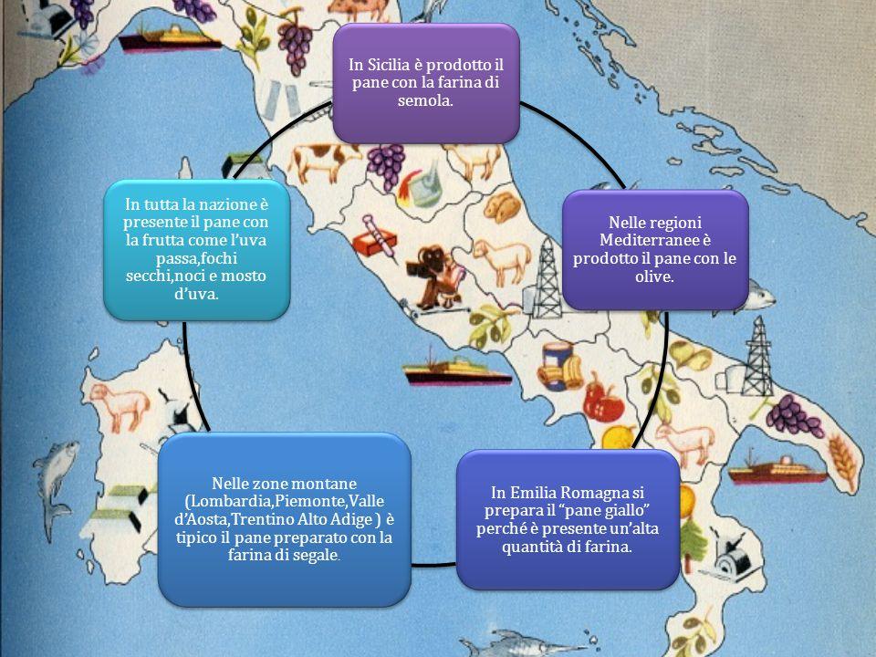 """In Sicilia è prodotto il pane con la farina di semola. Nelle regioni Mediterranee è prodotto il pane con le olive. In Emilia Romagna si prepara il """"pa"""