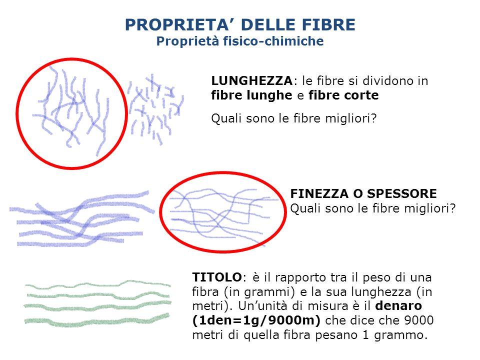 PROPRIETA' DELLE FIBRE Proprietà fisico-chimiche LUNGHEZZA: le fibre si dividono in fibre lunghe e fibre corte Quali sono le fibre migliori? FINEZZA O