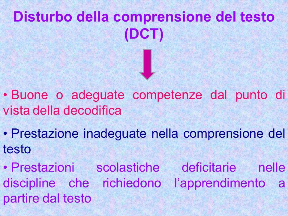 Disturbo della comprensione del testo (DCT) Buone o adeguate competenze dal punto di vista della decodifica Prestazione inadeguate nella comprensione
