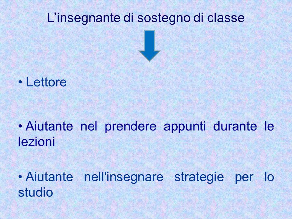 L'insegnante di sostegno di classe Lettore Aiutante nel prendere appunti durante le lezioni Aiutante nell'insegnare strategie per lo studio