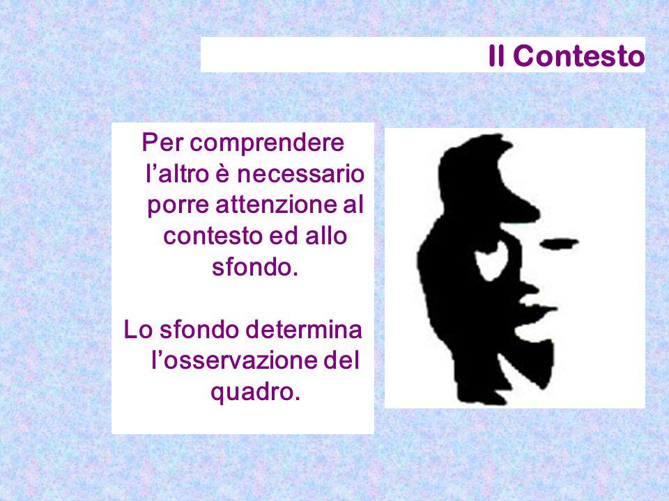 Il Contesto Per comprendere l'altro è necessario porre attenzione al contesto ed allo sfondo. Lo sfondo determina l'osservazione del quadro.