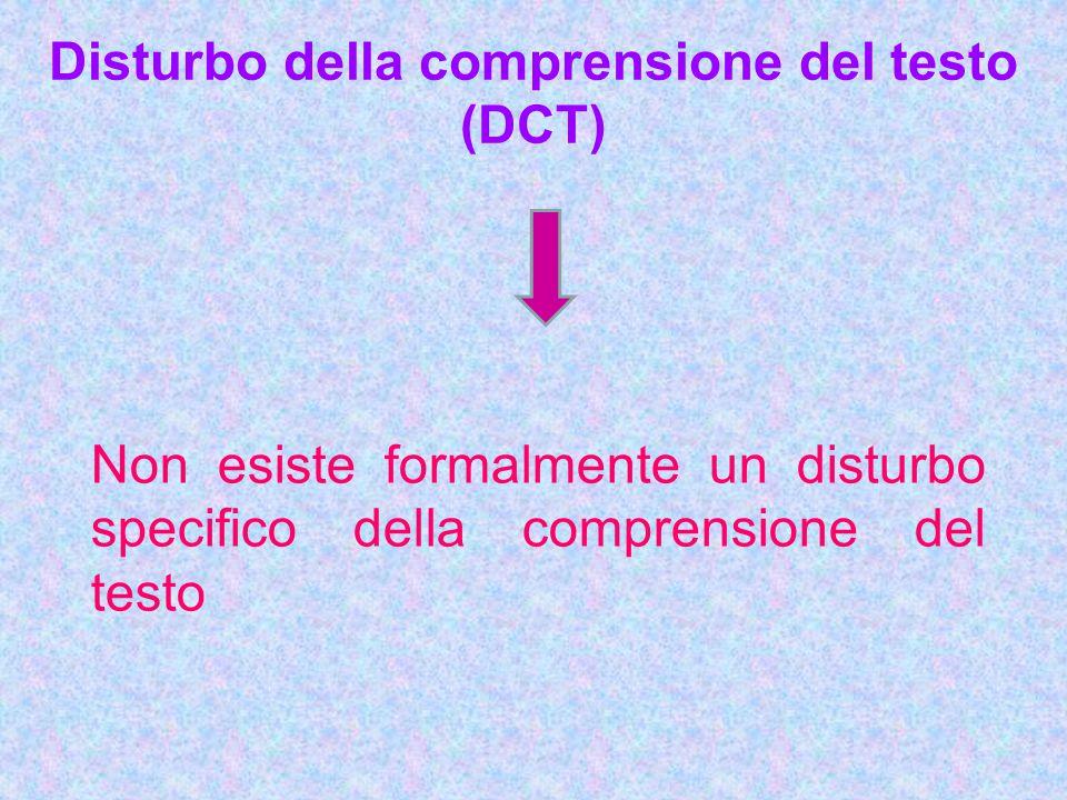Disturbo della comprensione del testo (DCT) Non esiste formalmente un disturbo specifico della comprensione del testo
