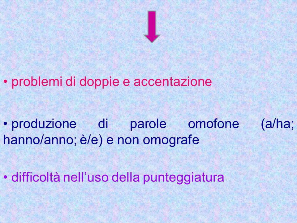 problemi di doppie e accentazione produzione di parole omofone (a/ha; hanno/anno; è/e) e non omografe difficoltà nell'uso della punteggiatura