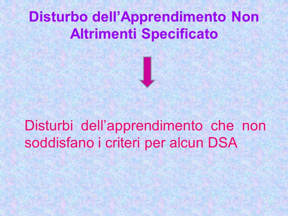 Disturbo dell'Apprendimento Non Altrimenti Specificato Disturbi dell'apprendimento che non soddisfano i criteri per alcun DSA