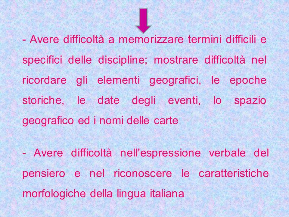 - Avere difficoltà nell'espressione verbale del pensiero e nel riconoscere le caratteristiche morfologiche della lingua italiana - Avere difficoltà a