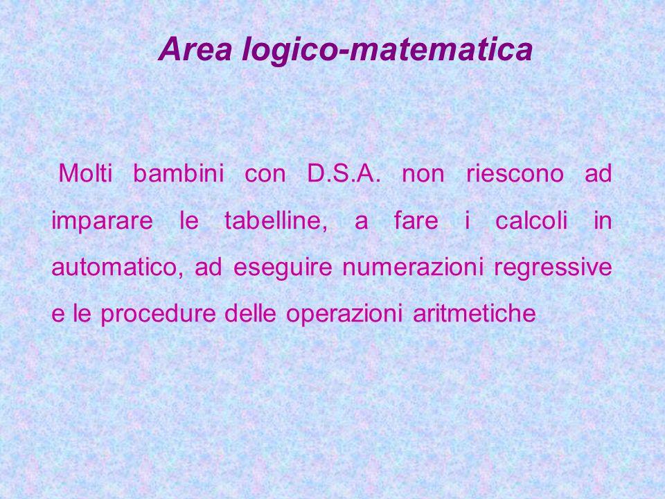 Area logico-matematica Molti bambini con D.S.A. non riescono ad imparare le tabelline, a fare i calcoli in automatico, ad eseguire numerazioni regress