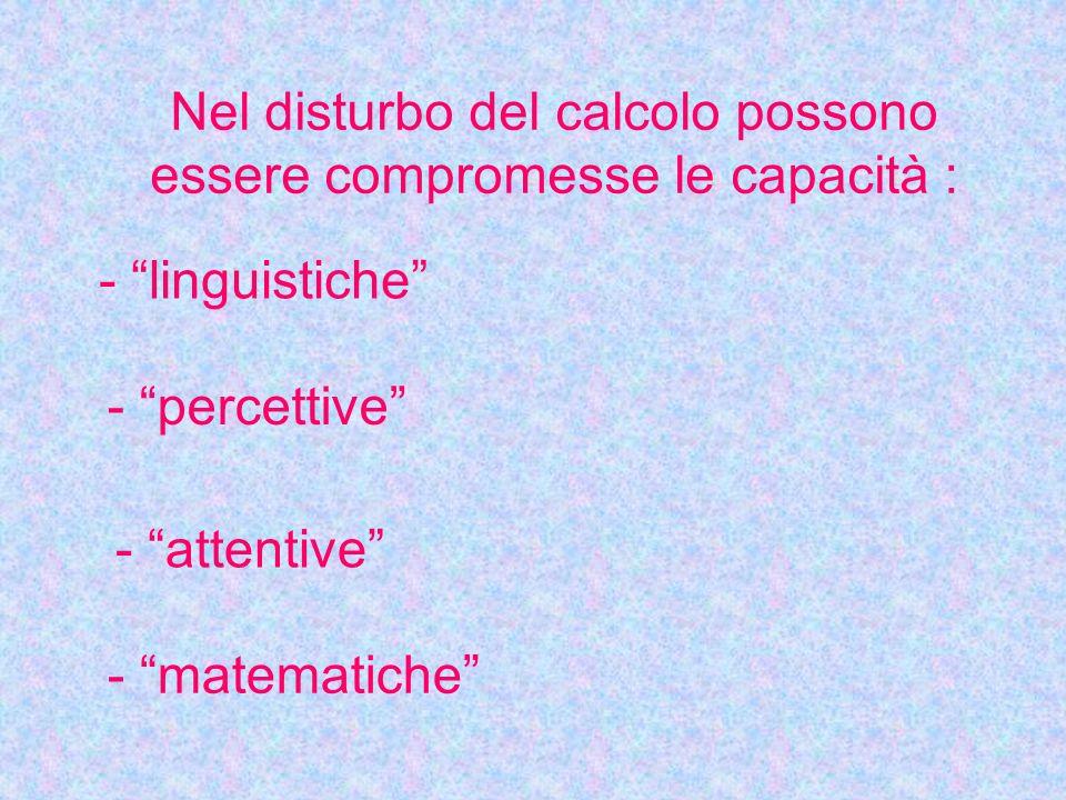 """Nel disturbo del calcolo possono essere compromesse le capacità : - """"linguistiche"""" - """"percettive"""" - """"attentive"""" - """"matematiche"""""""