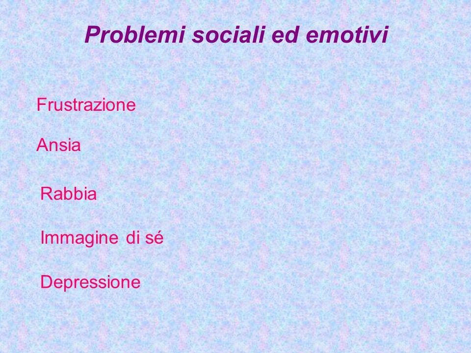 Problemi sociali ed emotivi Frustrazione Ansia Rabbia Immagine di sé Depressione