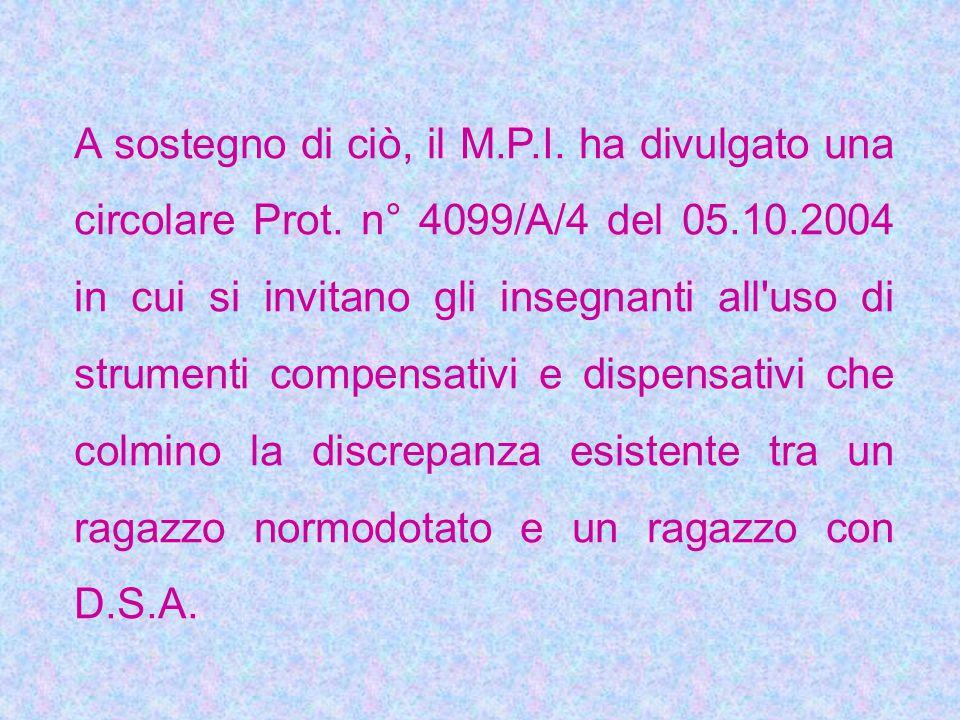 A sostegno di ciò, il M.P.I. ha divulgato una circolare Prot. n° 4099/A/4 del 05.10.2004 in cui si invitano gli insegnanti all'uso di strumenti compen
