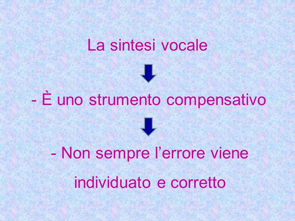 La sintesi vocale - È uno strumento compensativo - Non sempre l'errore viene individuato e corretto